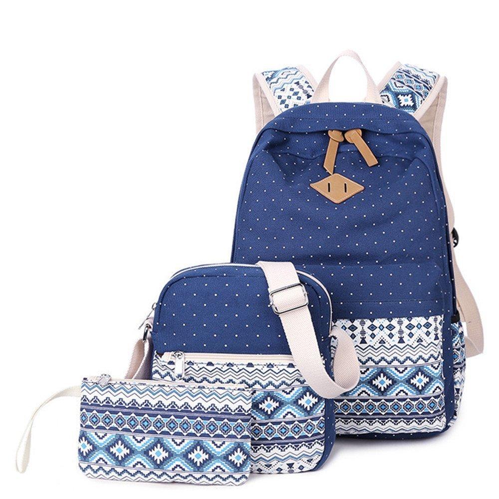 3 Teiliges Schultaschen-Set Canvas Segeltuch Schulrucksack + Umhängetasche + Mäppchen für Jugendliche Mädchen Damen (Blau)