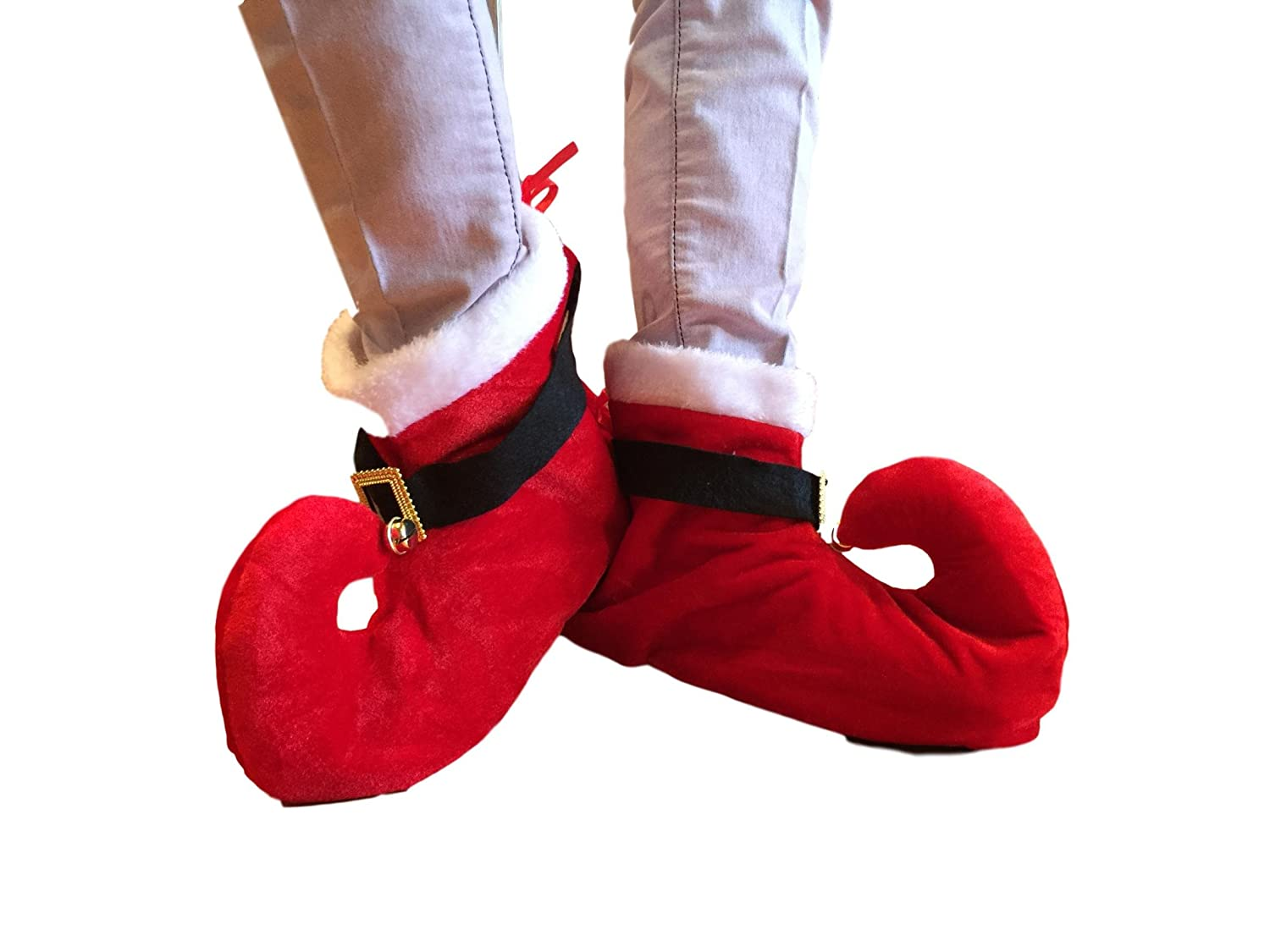 Santa's Red Elf Booties with Bells for Over The Shoes One Size Christmas Fun Boots