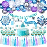 Golray Frozen Birthday Party Supplies Girls Princess Elsa Birthday Party Decorations 61 Balloons, Banner, Tassel, Sash, Pin,