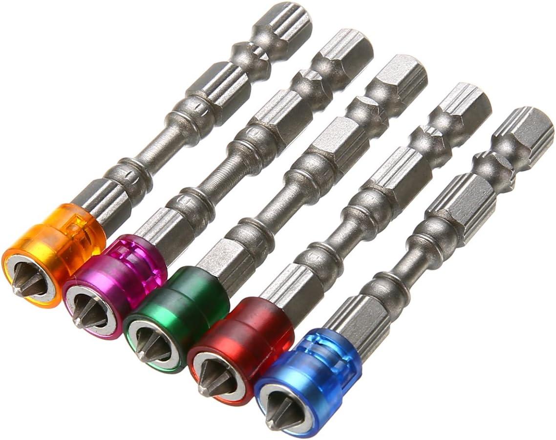 5/pcs antid/érapant /électrique magn/étique Embouts de tournevis S2/PH2/Vis /à t/ête unique pilote Bits 1//10,2/cm Tige hexagonale outils /à main