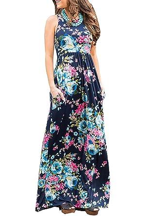 f06a4ea64f1c2 Assivia Womens Casual Sleeveless Boho Floral Print Beach Party Long Maxi  Dress
