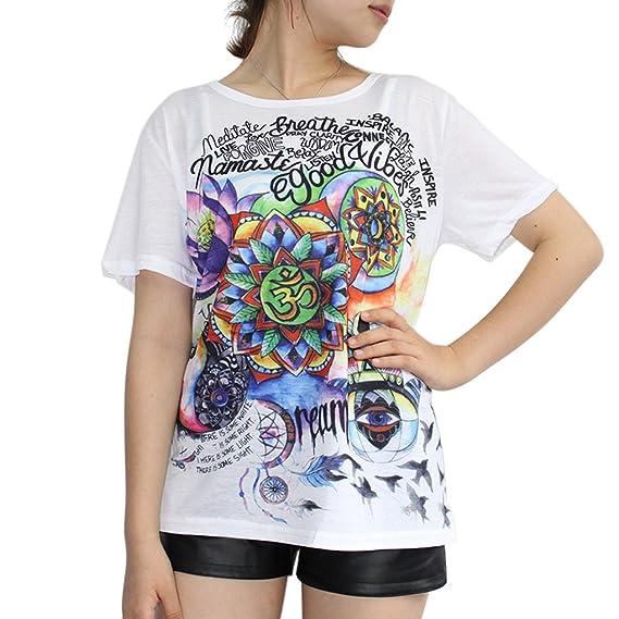 Camisetas Mujer Manga Corta Verano Camisa Estampada Impresión T shirt Blusa Elegantes Casual Color Sólido Top