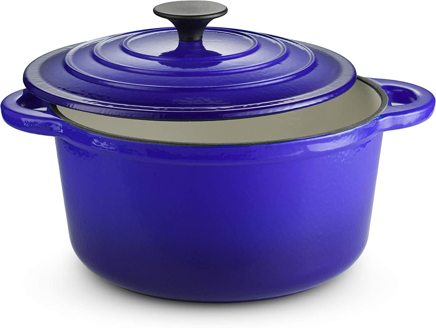 Klee Enameled Cast Iron Dutch Oven Casserole Dish with Self-Basting Cast Iron Lid, 4-Quart (Blue)
