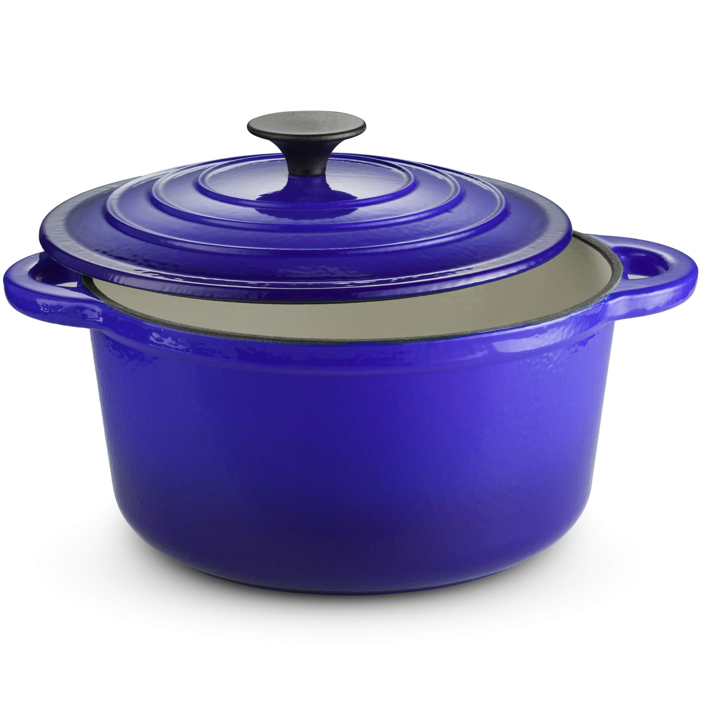 Klee Enameled Cast Iron Dutch Oven Casserole Dish with Self-Basting Cast Iron Lid, 4-Quart (Blue)