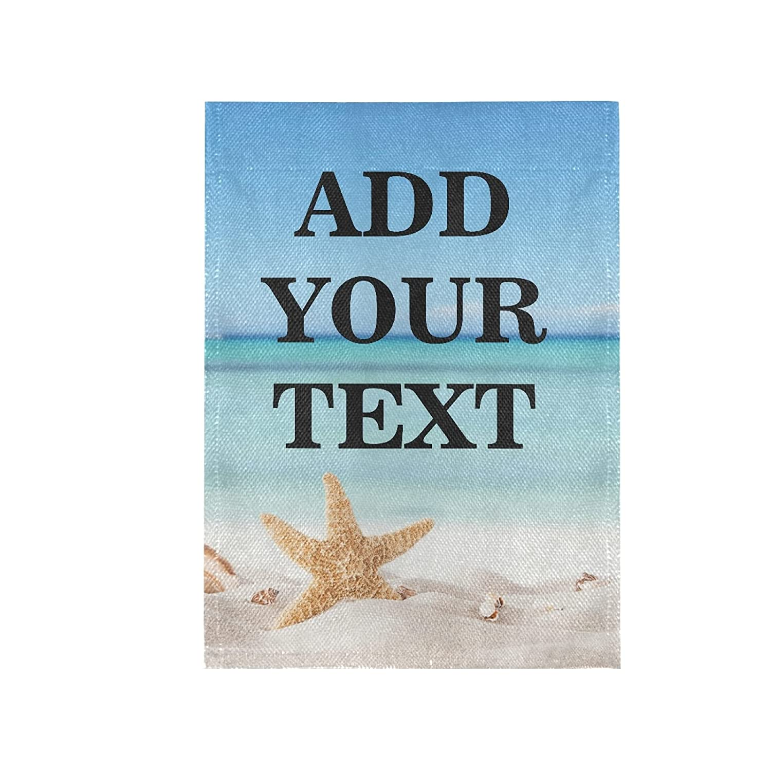 Custom Garden Flag, Summer Sea Beach Starfish Personalized Yard Flags Decor, Add Your Own Picture/Text/Logo Burlap Yard Home Decor Banner for Outside 12