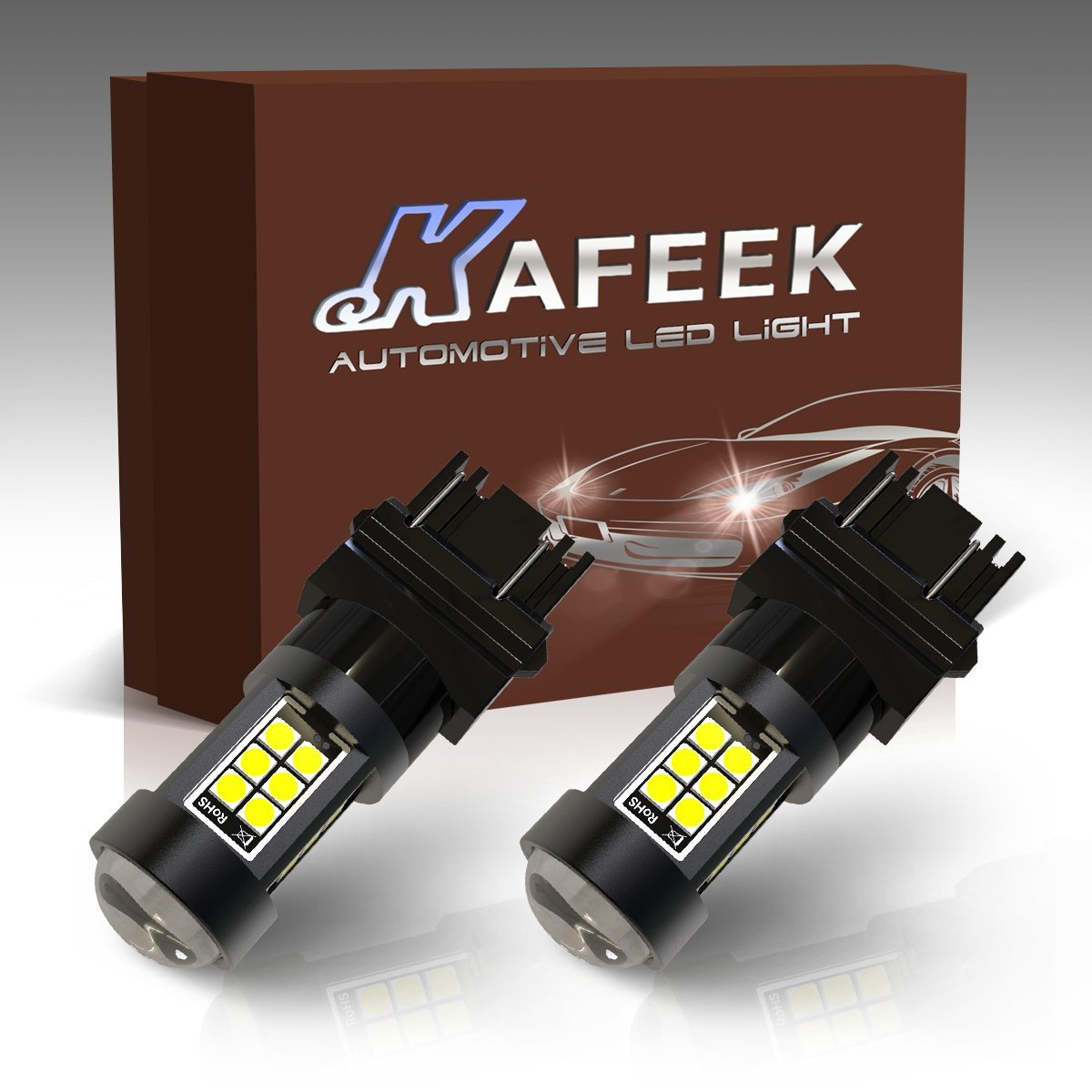 KAFEEK 2x Extremely Bright 3030 Chipsets 1400 Lumens 3056 3156 3057 3157 LED Bulbs with Projector for Backup Reverse Lights Turn Signal Lights Brake Lights Tail lights White KF-10156
