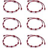 Huapan 6 uds Pulsera de Kabbalah Pulseras Rojas 7 Nudos, Pulseras para Protección, Suerte y el Mal de Ojo Ajustable…