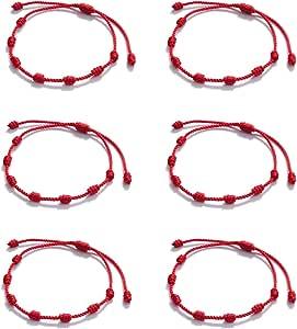 Huapan 6 uds Pulsera de Kabbalah Pulseras Rojas 7 Nudos, Pulseras para Protección, Suerte y el Mal de Ojo Ajustable Cordón de Hilo Rojo, Regalos para Mujeres y Hombres Niños y Niñas Unisex