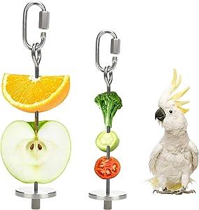 Bird Food Holder for Cage Clips Feeders Parakeets/Parrots Stainless Treat Skewer Vegetable Fruit Stick Holder (2PCS)