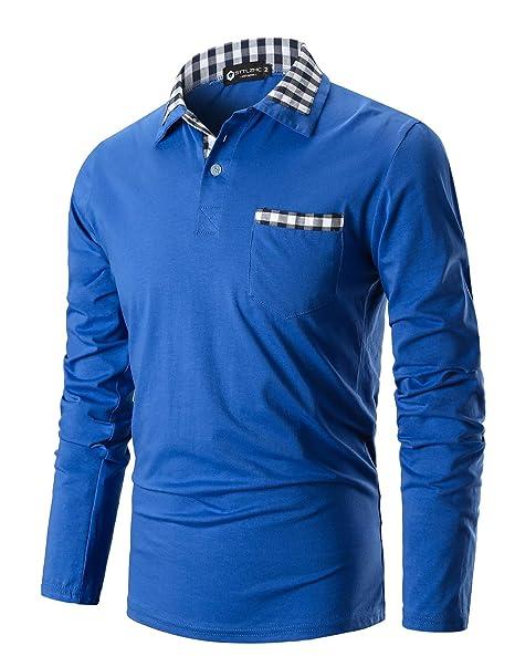 STTLZMC Polo Hombre Mangas Largas Camisetas Moda Plaid Cuello Slim ...