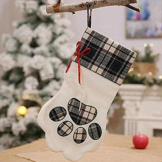 Wanjis 2019 - Calcetines de Navidad con diseño de Huellas de Perro ...
