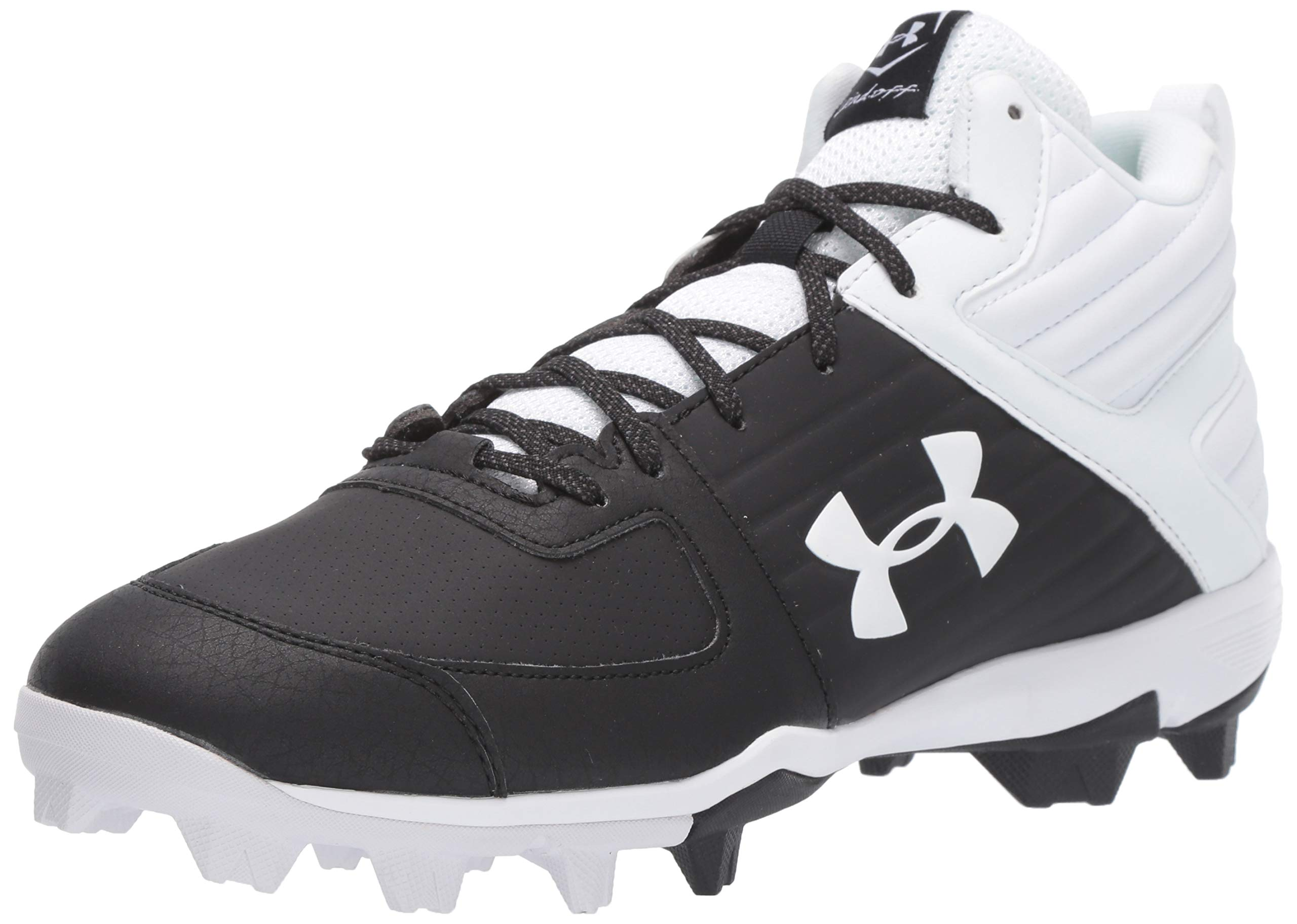 Under Armour Men's Leadoff Mid RM Baseball Shoe, Black (002)/White, 11 by Under Armour