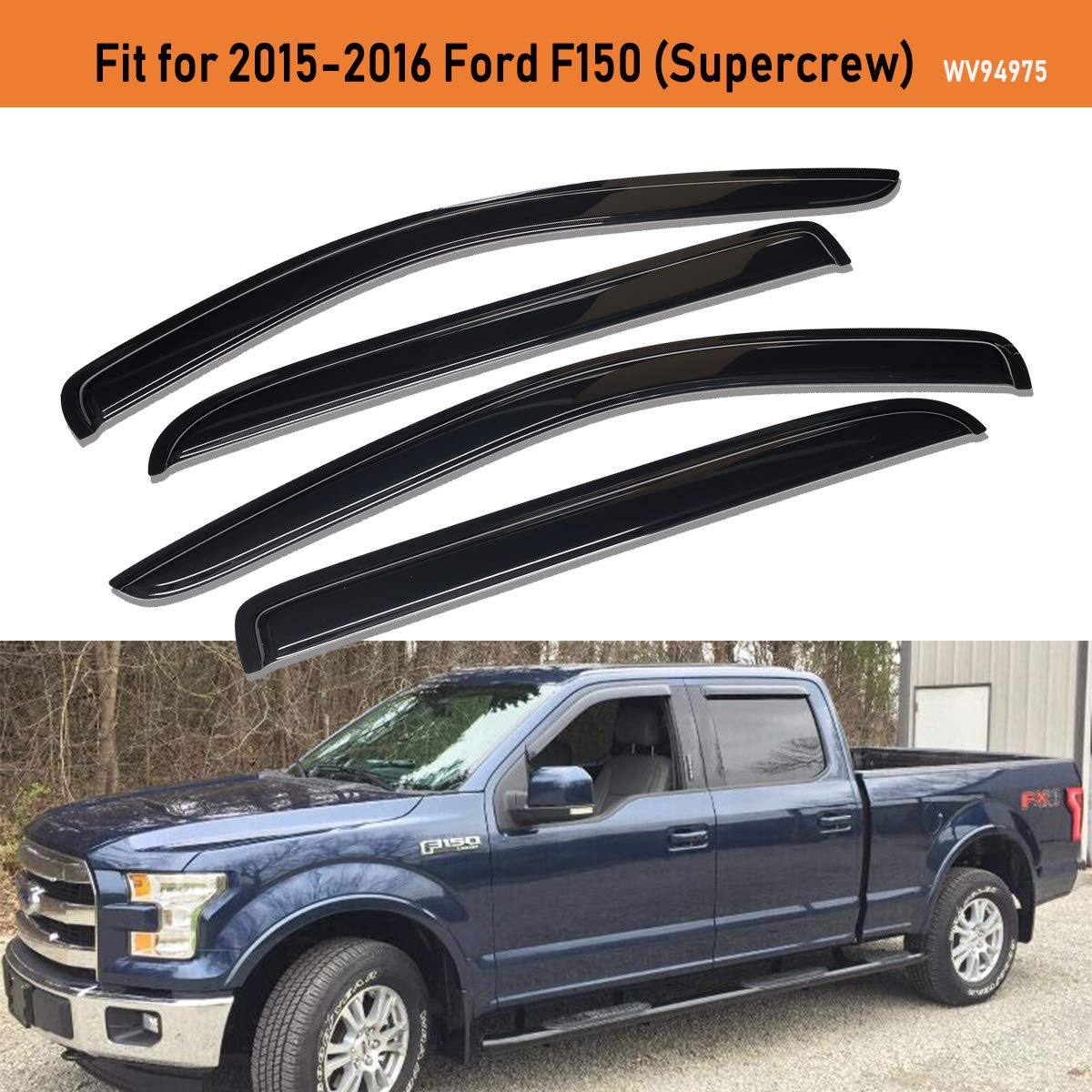 Lightronic F150 Window Vent Deflector WV94974 Rain Guards 4 Piece Set for 2015-2016 Ford F150 Supercab