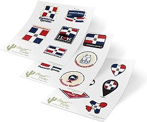 Dominican Republic Country Flag Stickers Decals Kids Logo Scrapbook Car Vinyl Window Bumper Laptop (3 Sheets)