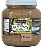 Wilderness Poets Almond Butter- Organic & Raw - Bulk Almond Nut Butter - Half Gallon Glass Jar - 4 lb (64 oz)