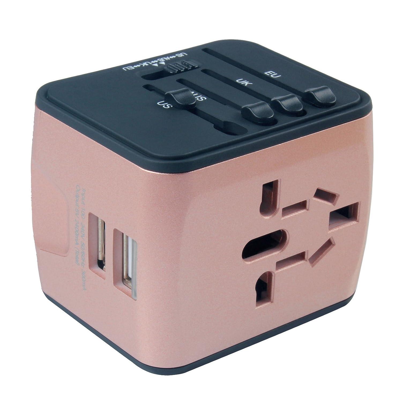 Chargeur pour prise USB 2ports pour voyager dans le monde entier, prises de voyage internationales avec prises et fiches EU, UK, US, AU (Noir) 65x54x56mm doré