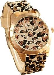LSVTR Unisex Leopard Silicone Jelly Gel Quartz Analog Wrist Watch