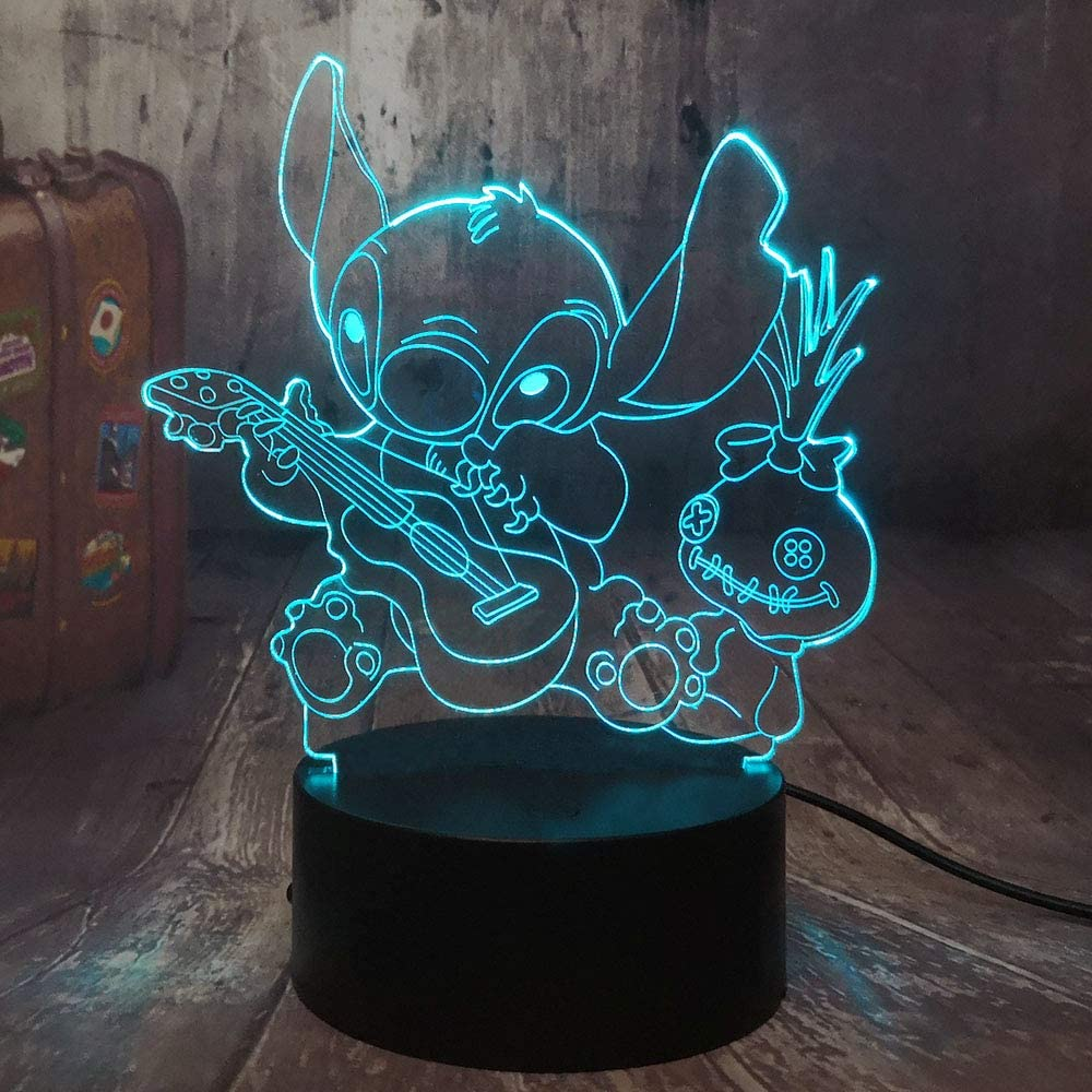 Cute Cartoon Figure Stitch 3D LED Night Light Happy Stitch Playing The Guitar with Friends Scrump Baby Sleep Table Lamp Bedroom Decor Christmas Gift for Kids Boys Children(Stitch Guitar)