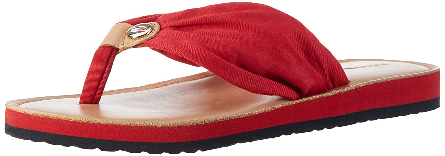 Tommy Hilfiger Damen Leather Footbed Beach Sandal Zehentrenner  36 EU|Rot (Tango Red 611)