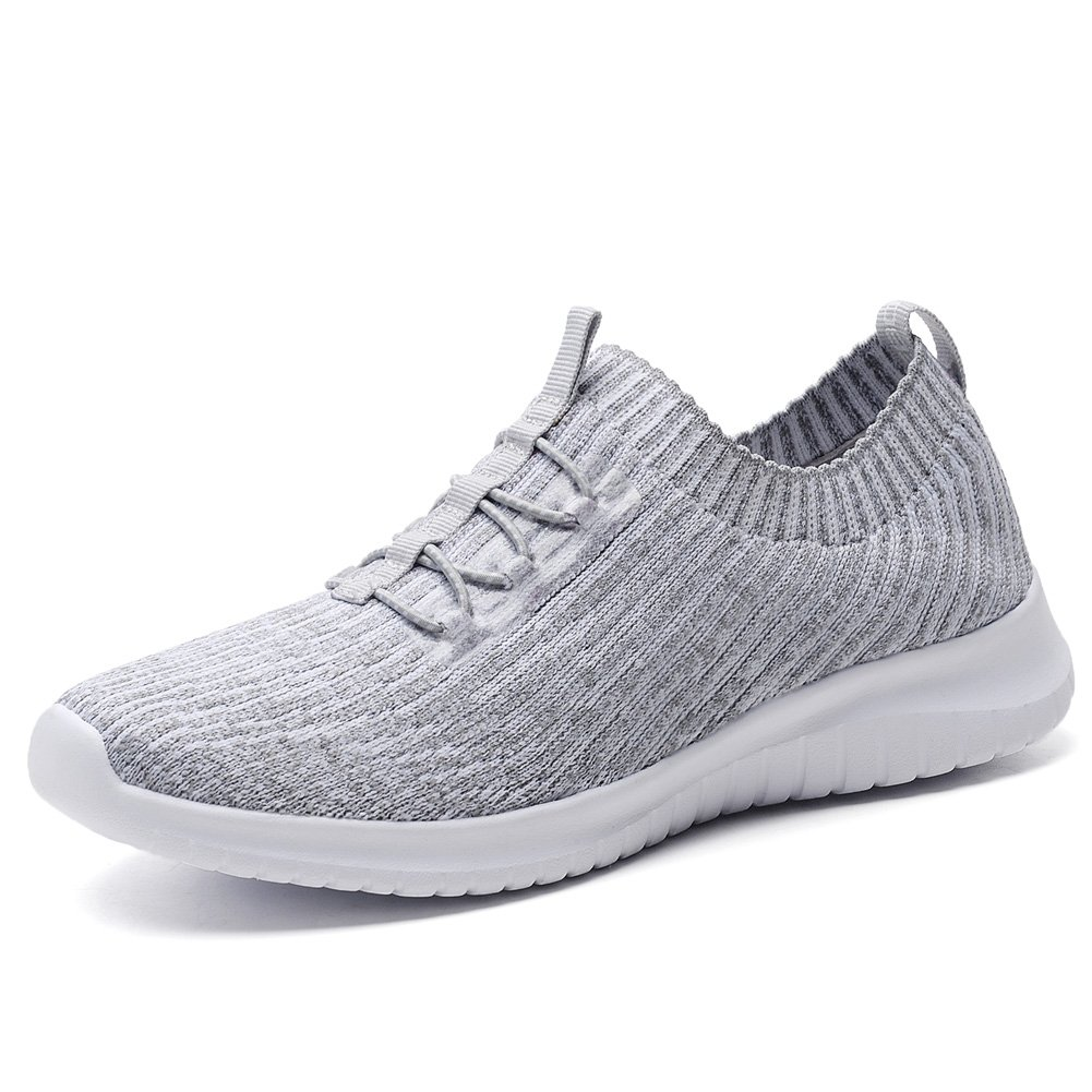TIOSEBON Women's Lightweight Casual Walking Athletic Shoes Breathable Flyknit Running Slip-On Sneakers B07B4SJRGK 7.5 B(M) US|2122 Gray