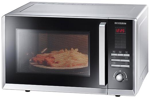Severin MW 9675 - Microondas con grill y convección, 800 W, 10 programas de cocción automáticos, color plata, 11 L