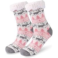Slipper Socks, Winter Ladies Non Slip Fleece Lined Slipper Socks, Soft Cozy Cotton Knitted Sock for Women Girls Christmas Xmas Gift Indoor, One Size