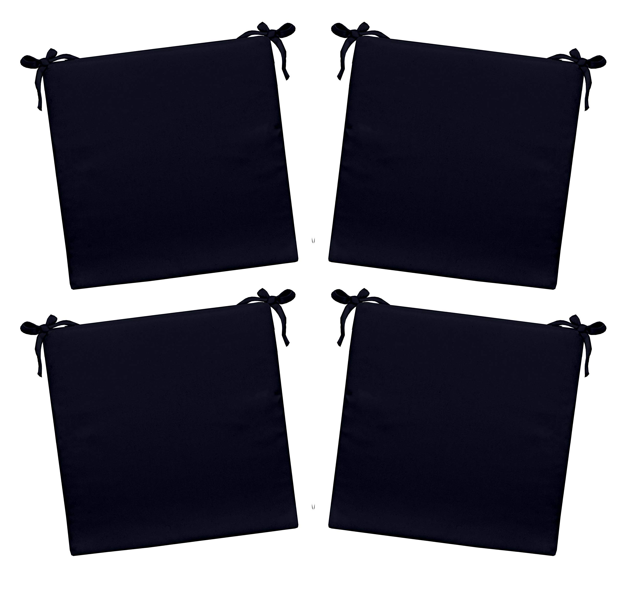 RSH Décor Indoor/Outdoor - 3'' Solid Navy Foam Seat Cushion with Ties for Dining/Patio Chairs - Choose Size and Choose Quantity (4, 15'' W x 14'' D)