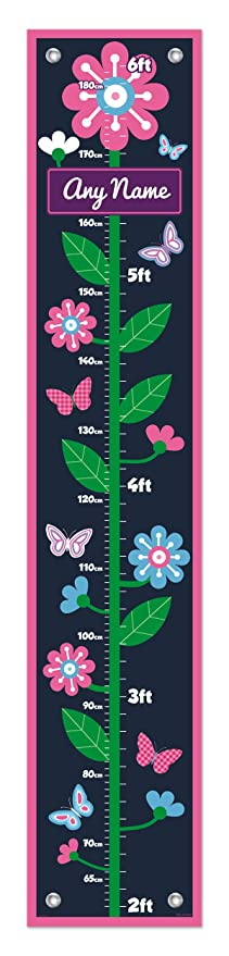 Pink Kid Room Decor Custom Name Flower Growth Chart for Kids Measurement Personalized Growth Chart