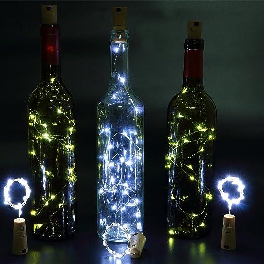 6pcs Botella Luces – 100cm botella de luz Con 20 bombillas LED, lampara botellas para la botella DIY, partido, decoración, la Navidad, Víspera de Todos los Santos, boda (Blanco): Amazon.es: Iluminación