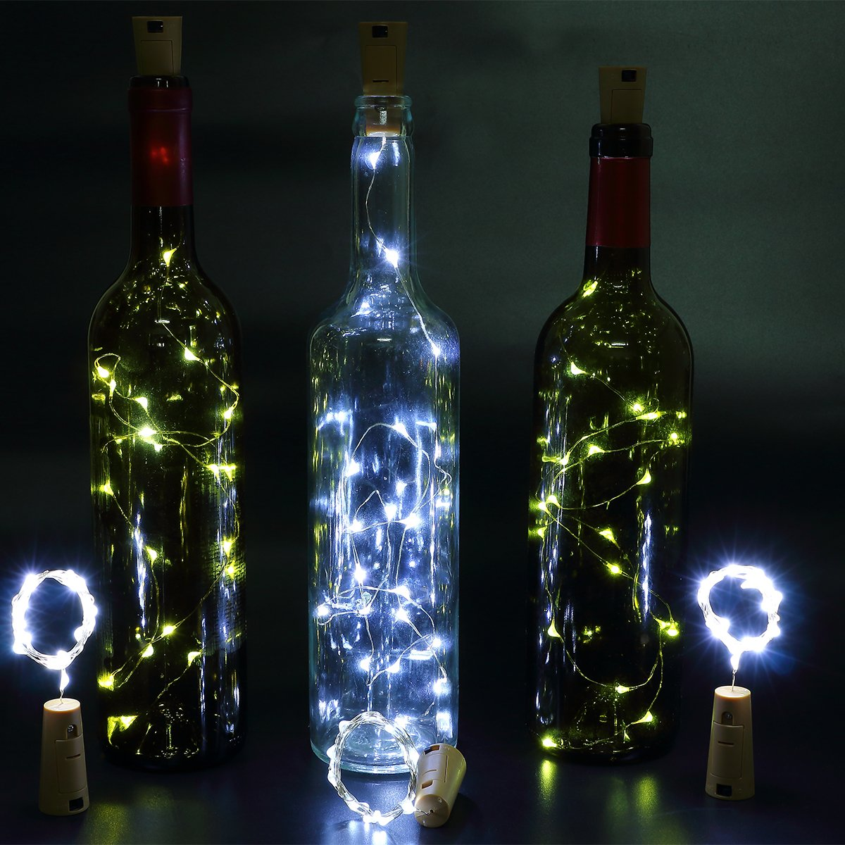 Zulux 6pcs Bottle Lights – 39 inch 20 LED Lights Bottles, Wine Glass Light Bottle DIY, Party, Decor, Christmas, Halloween, Wedding (White)