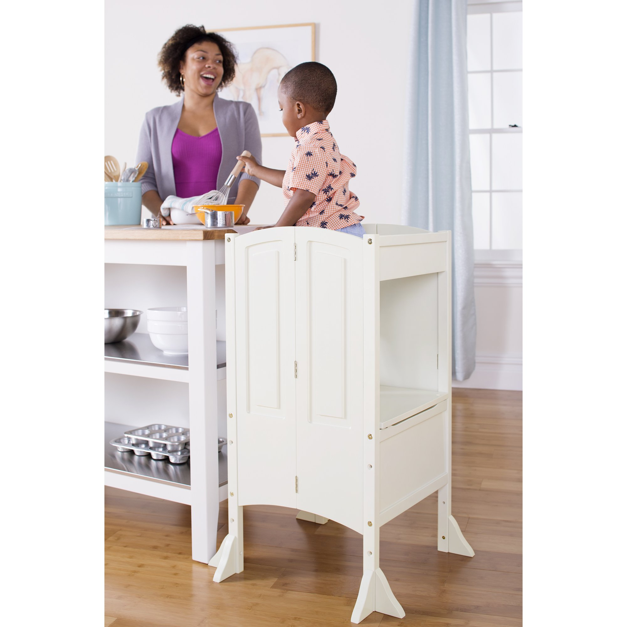 Guidecraft Heartwood Kitchen Helper - White Step Stool Adjustable Height For Toddlers, Kids Furniture