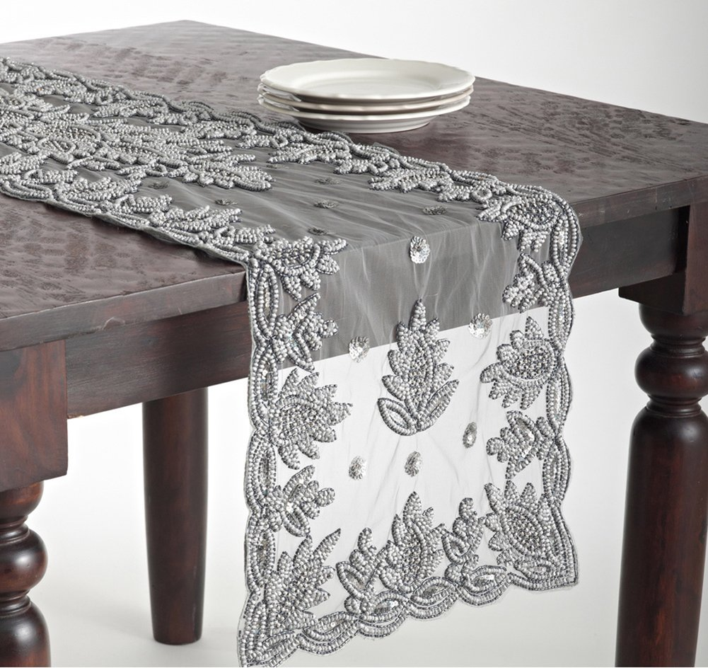 "Fennco Styles Elegant Hand Beaded Rectangular Table Runner (16""X72"", Pewter) - HAND BEADED TABLE RUNNER- Featuring pewter on polyester, this oblong table runner is the perfect choice for tasteful kitchen linens for your everyday use and outdoor decoration. PERFECT BANQUEST TABLE RUNNER - At 16 inches in wide and 72 inches in length, this beaded table runner is perfectly sized for layering your kitchen décor. It not only protects wooden tables but also offers a luxury background for your tableware and centerpieces. PREMIUM QUALITY - We craft our formal table runner from superior quality with 100% polyester construction. Durable, comfortable and easy to dry clean, this beautiful table runner is a true investment for your table decor. Floral pattern add a glamorous touch to any table. - table-runners, kitchen-dining-room-table-linens, kitchen-dining-room - 71GP3FqdAhL -"