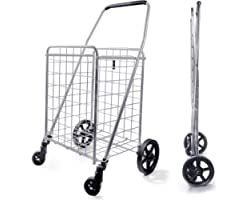 Wellmax WM99024S Grocery Utility Shopping Cart, Easily Collapsible and Portable to Save Space and Heavy Duty, Light Weight Tr