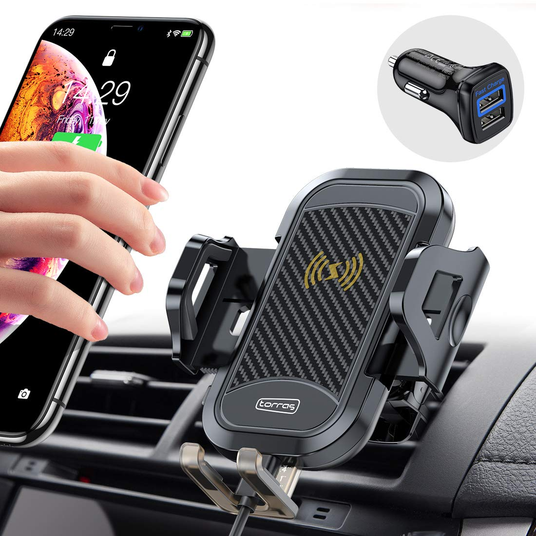 TORRAS [Upgraded] Wireless Car Charger Mount with QC 3.0 Adapter, Stronger Qi Safe Fast Charging Holder for Car Air Vent Compatible with iPhone 11 Pro Max XS XR X 8 Plus Samsung S10 S9 Note10 9 More by TORRAS