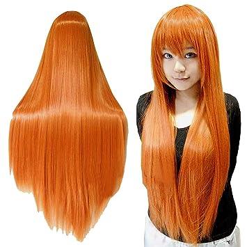 Rokoo Orange longue perruque Perruques de