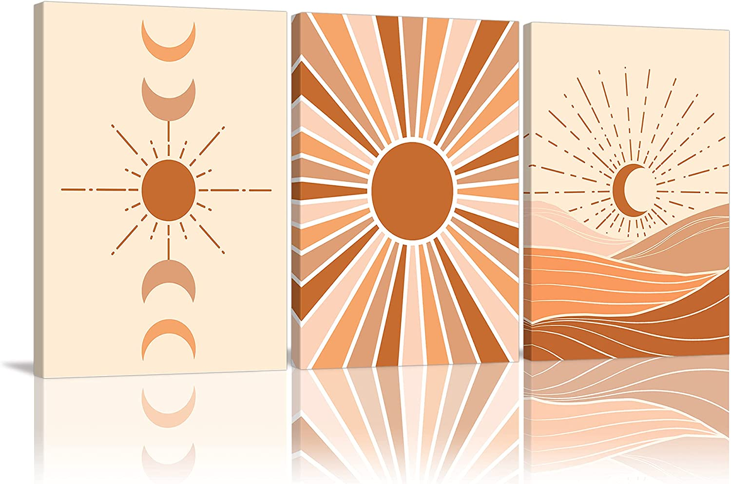 Mid Century Wall Art 3 Panels Framed Canvas Terracotta Wall Picture Minimalist Wall Prints Moon Boho Canvas Prints Modern Geometric Artwork Home Decor for Living Room Bedroom Bathroom Office Framed Ready to Hang