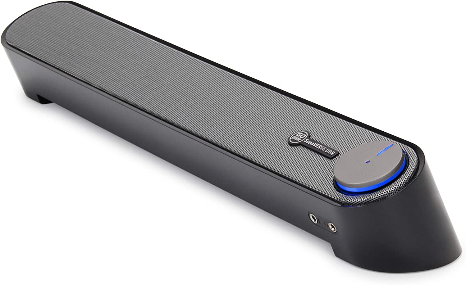 GOgroove Computer Speaker Mini Soundbar - USB Powered PC Sound Bar with Easy Setup Wired AUX, Stereo Audio, Microphone Port, Volume Control Knob, Under Monitor Design for Desktop (Black)