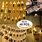 Photo Clip String Lights, 20ft Battery Powered Pictures Lights Lamp with 40 LED Photo Clip ADSION for Home/Party/Christmas Decoration Birthday Wedding Party Festival Decor (Warm White)