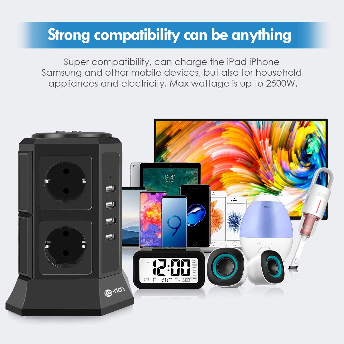 Noir Interrupteur Adaptateur Douille Tour Multiprise Parasurtenseur Parafoudre Cordon de 2m pour iPhone iPad PSP Te-Rich Bloc Multiprise USB Verticale avec 8 Prises Electrique et 4 Ports USB