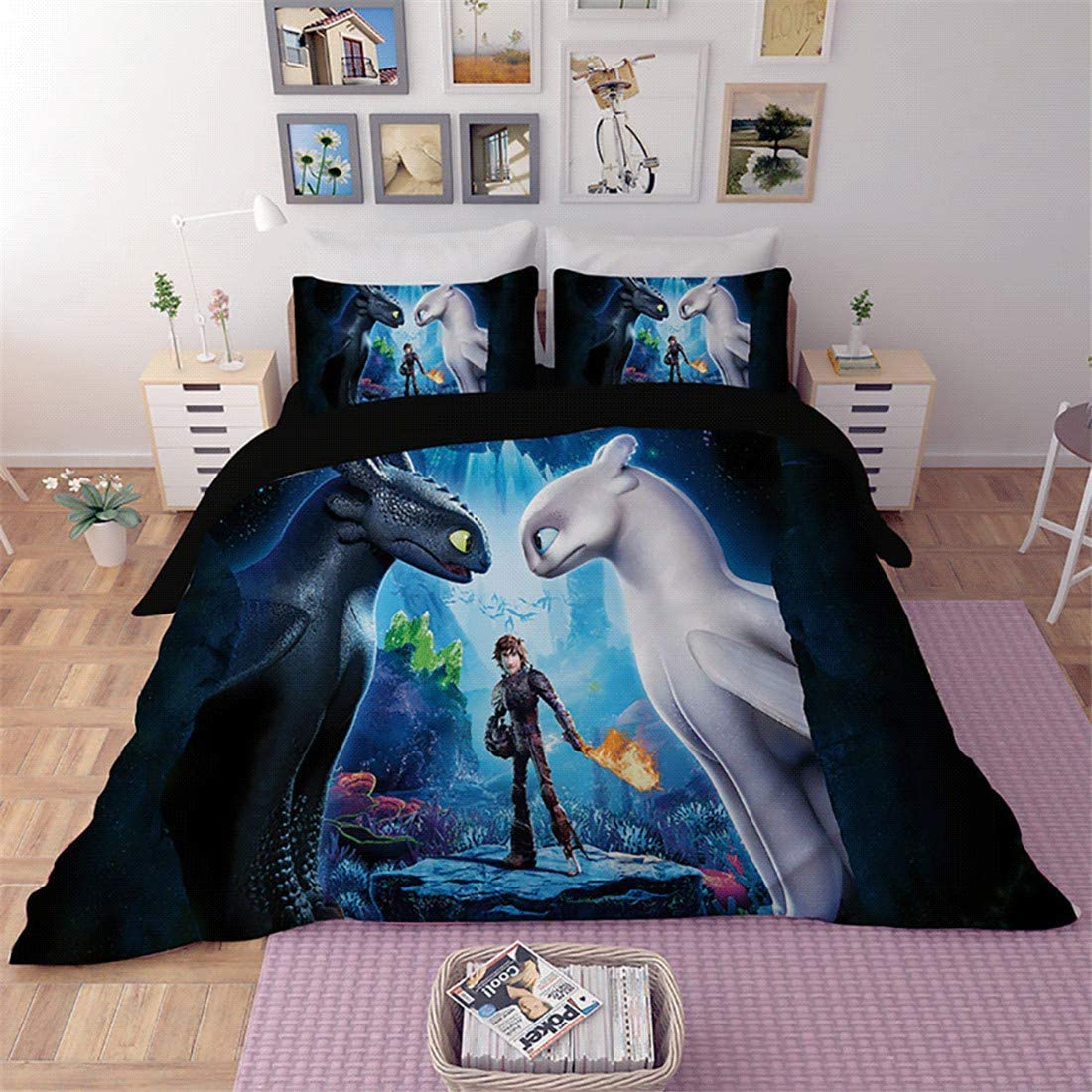 EVDAY How to Train Your Dragon Kids Bedding for Boys 3D Cartoon Super Soft Microfiber 3 Piece Bed Cover Set Including 1Duvet Cover,2 Pillowcases King Queen Full Twin Size