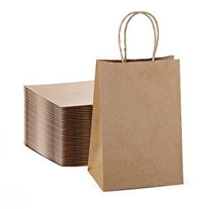 Kraft Paper Bags with Handles, 5.25x3.75x8 Brown Kraft Gift Bag, 100 Pc Bulk Grocery Shopping Bags, Party, Retail, Business, Packaging, Merchandise, Boutique, Wedding Favor, Baby Shower, Small Business