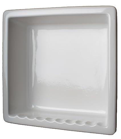 Amazon.com: 1 Compartment Tile Recessed Ceramic Shower Niche Shelf Gloss  White: Home U0026 Kitchen