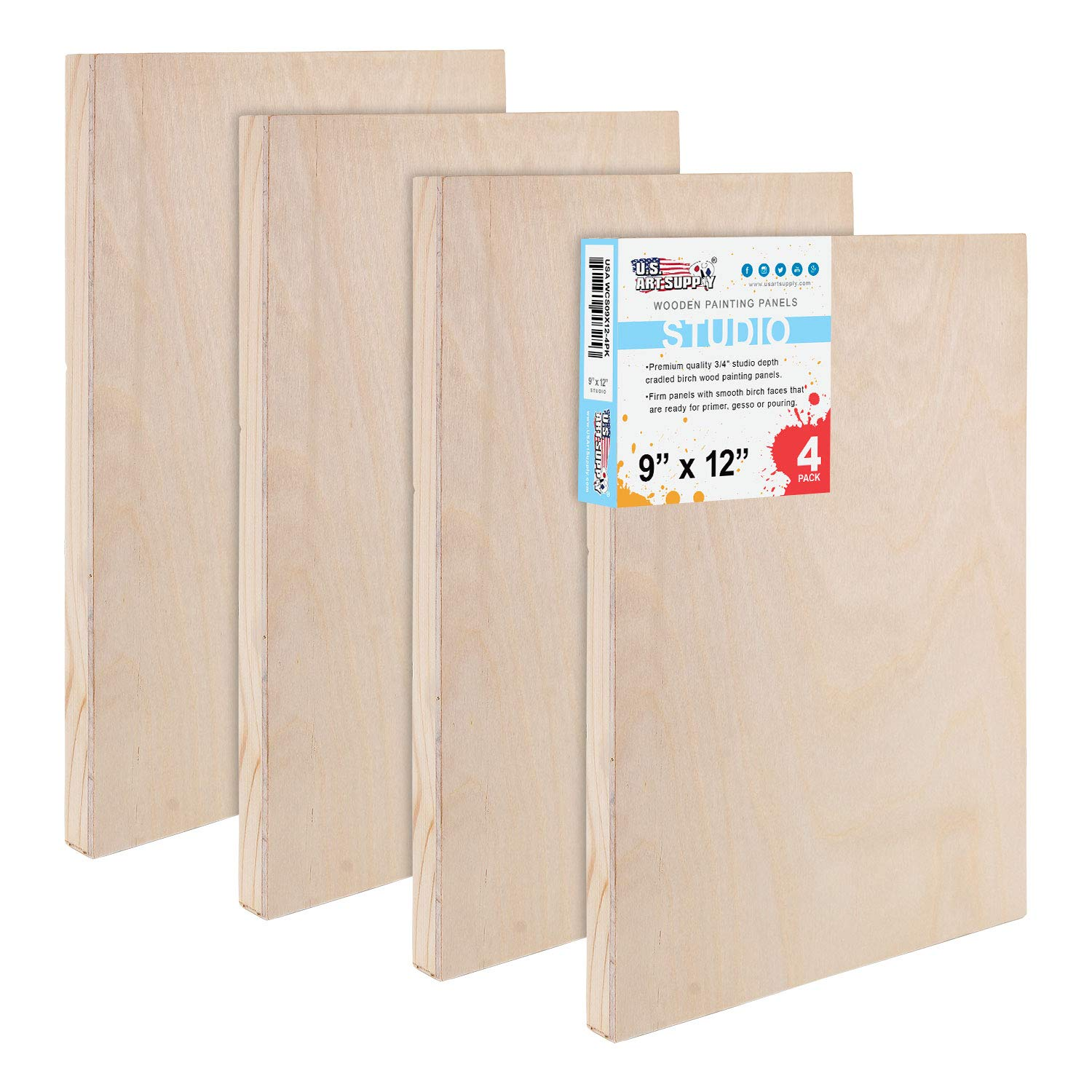 U.S. Art Supply 9'' x 12'' Birch Wood Paint Pouring Panel Boards, Studio 3/4'' Deep Cradle (Pack of 4) - Artist Wooden Wall Canvases - Painting Mixed-Media Craft, Acrylic, Oil, Watercolor, Encaustic