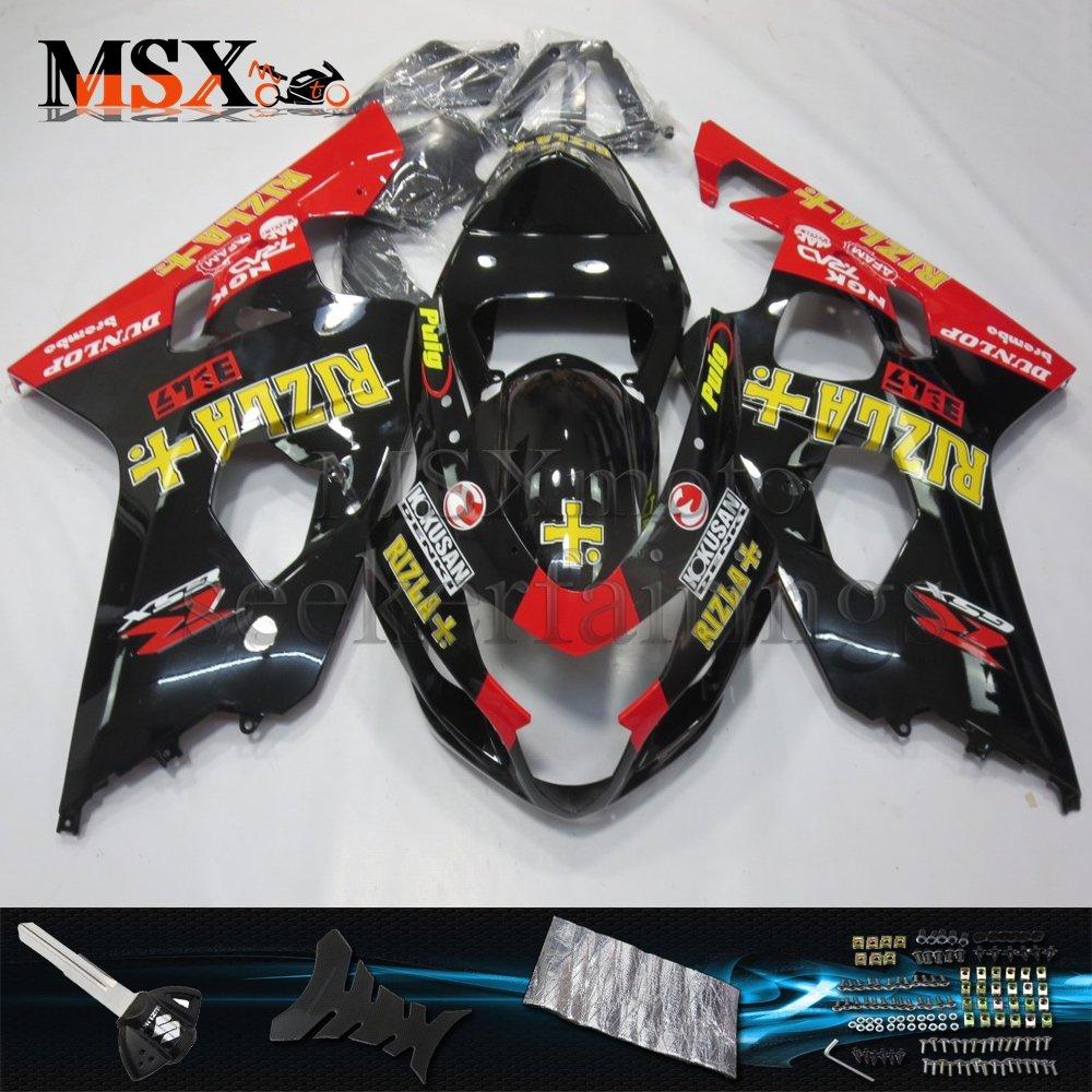 MSX-moto 適応ホンダ Suzuki GSXR600 GSXR750 K4 GSX-R600 GSX-R750 04 05 GSXR 2004 2005年 小R 外装パーツセット ABS射出成型完全なオートバイ車体 赤/レッド&黒/ブラックのボディ   B07F28LLBF
