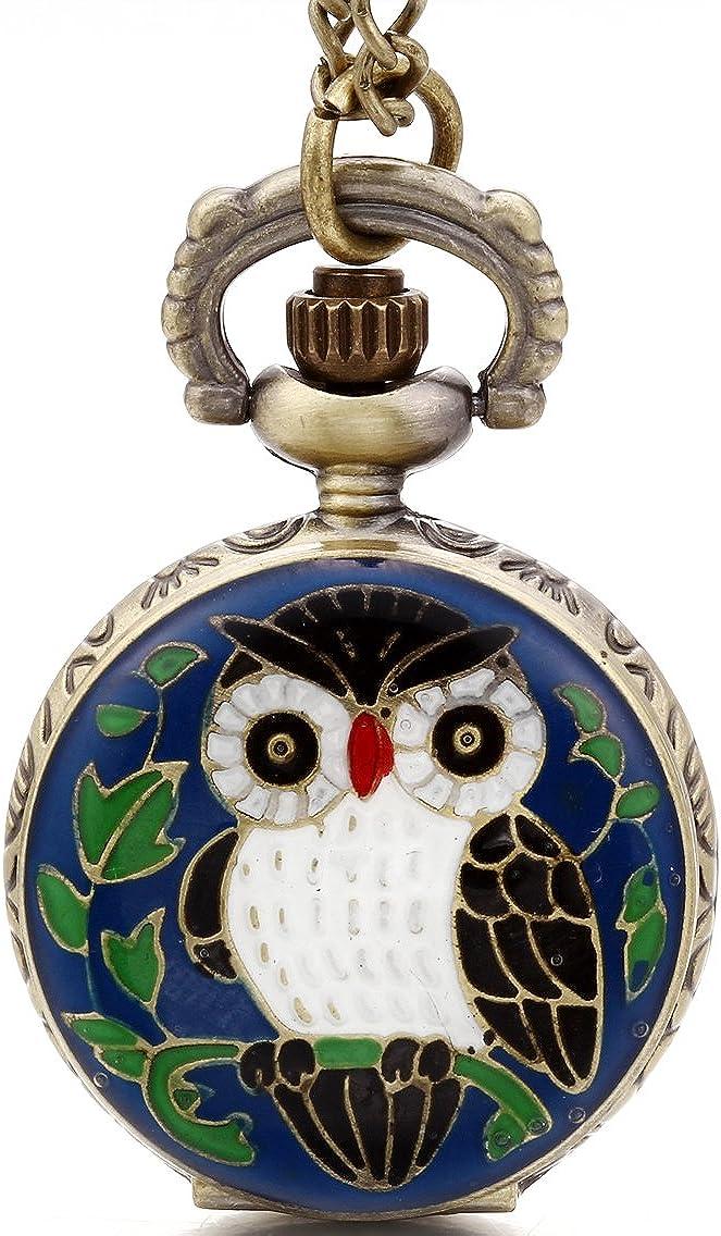 JewelryWe Reloj de Bolsillo Pequeño Colgante de Buho Adorable, Reloj Cuarzo de Color Bronce, Niño Niña Retro Vintage Collar Largo Con Colgante Azul Verde (Con Bolsa de Regalo)