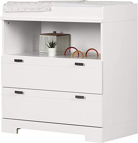 South Shore Reevo Changing Table and Dresser with Drawers, Pure White