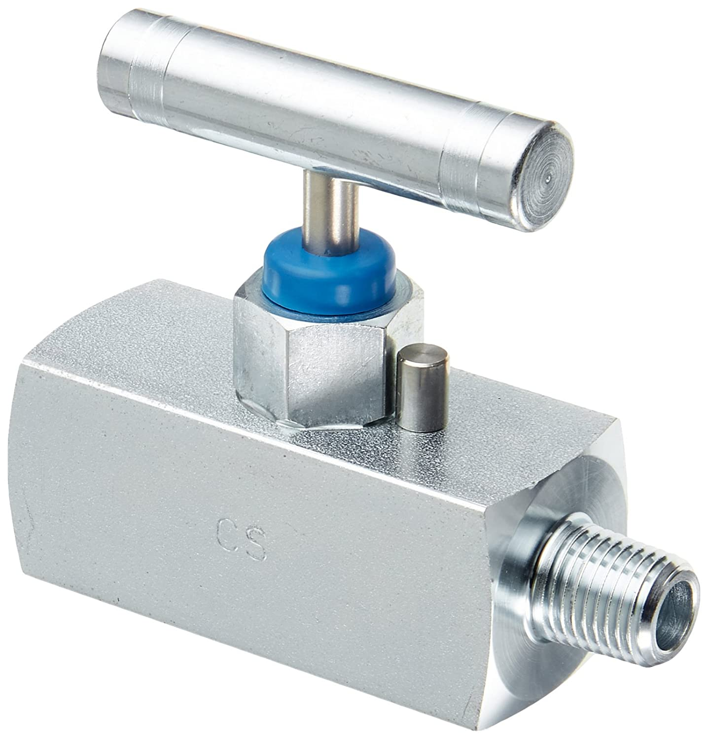 PIC Gauge NVL-CS-1//4-HS180-MXF Carbon Steel Large Body Straight Needle Valve with Hydraulic Service 10000 psi Pressure 1//4 Male NPT x 1//4 Female NPT Connection Size