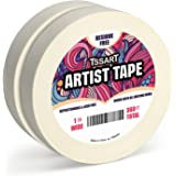 TSSART 2 Pack White Artist Tape - Masking Artists Tape for Drafting Art Watercolor Painting Canvas Framing - Acid Free 1 Inch