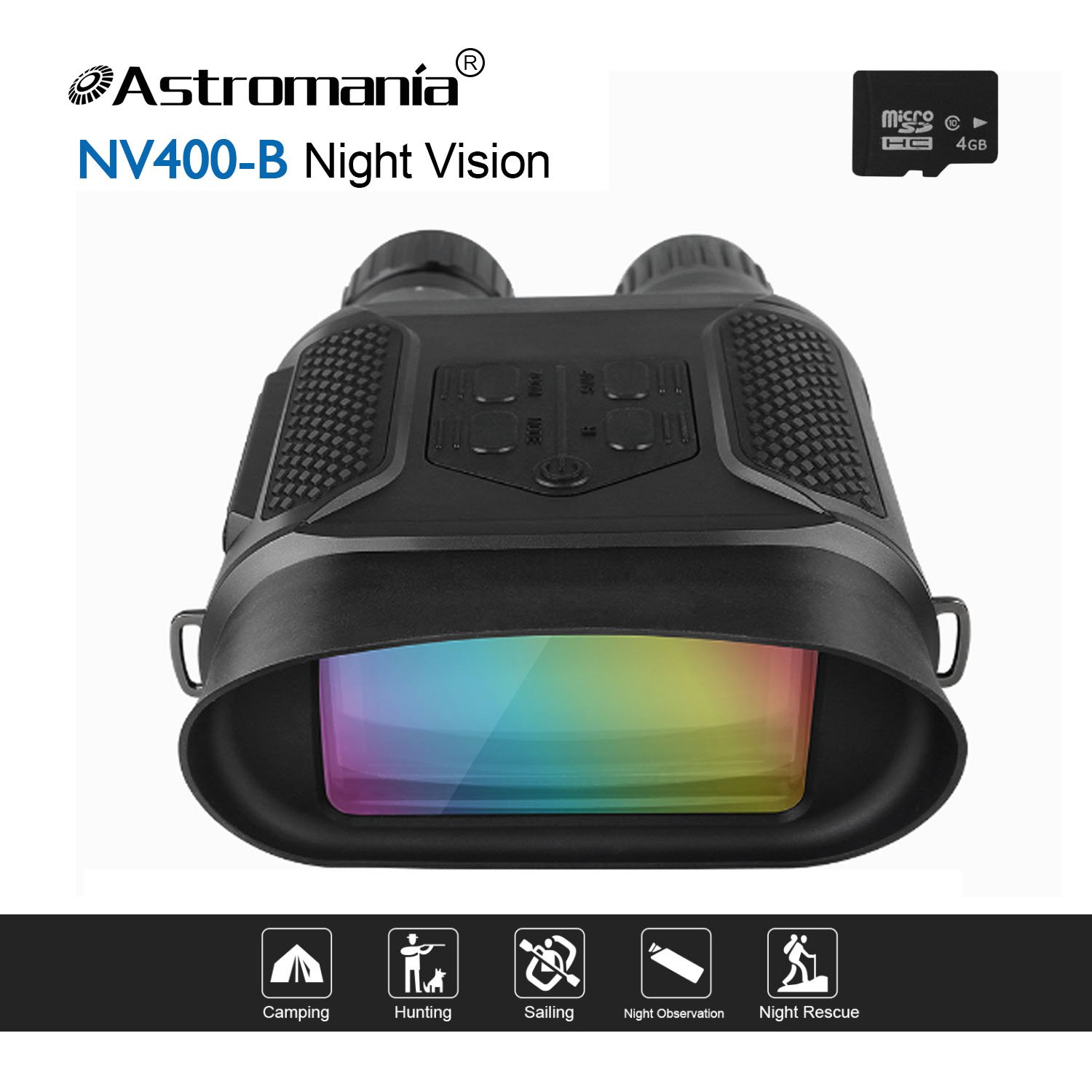 Astromania Night Vision Binocular/Digital Infrared Night Vision Scope - 7x31 Hunting IR Telescope with 2'' TFT LCD in-View,1300ft/400M Viewing Range,640x480p HD Photo Camera Video Recorder Display by Astromania