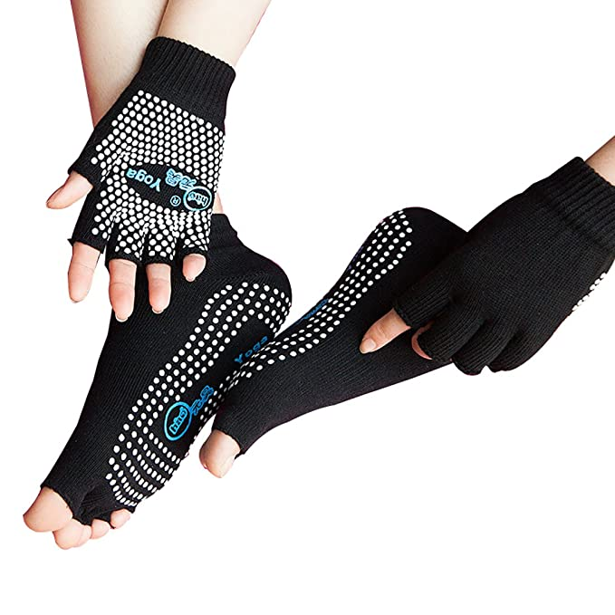 LJ Sport Mujer Chica Yoga Calcetines y guantes Set Navidad Regalo algodón antideslizante calcetines Non Slip Skid Half dedos guantes